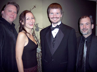 Dark Arts publishers Bill Breedlove with Waiting For October Authors Sarah Pinborough and Jeff Strand at the Bram Stoker Awards during World Horror Con 2007 in Toronto.